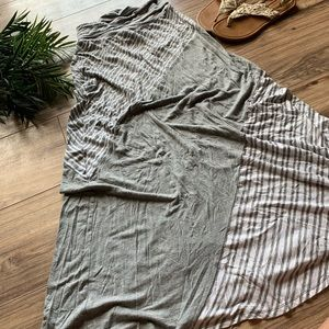 Grey and white striped maxi skirt